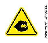attention kisses. lips on...   Shutterstock .eps vector #608952182