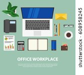 workplace concept. flat design. ... | Shutterstock .eps vector #608958245
