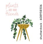 poster with house plant in the... | Shutterstock .eps vector #608958506