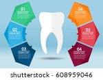 white tooth standing with a... | Shutterstock .eps vector #608959046