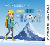 mountaineering concept. vector... | Shutterstock .eps vector #608959316