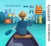 canoeing concept. vector... | Shutterstock .eps vector #608959376