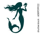mermaid with shell  hand drawn... | Shutterstock .eps vector #608959922