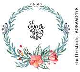 hand painted watercolor wreath. ... | Shutterstock . vector #608960498
