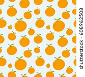 seamless pattern with mandarin | Shutterstock .eps vector #608962508
