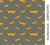 seamless pattern with cartoon... | Shutterstock .eps vector #608962592