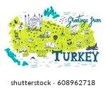 interesting map of turkey.... | Shutterstock .eps vector #608962718