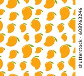 seamless pattern with mango on... | Shutterstock .eps vector #608963246