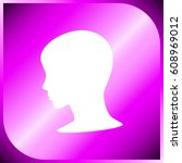 woman face silhouette web icon | Shutterstock .eps vector #608969012