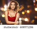 glamorous blonde beauty on...   Shutterstock . vector #608971286