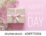 mother's day card  pink... | Shutterstock . vector #608975306