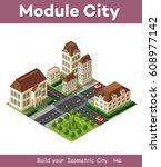 isometric retro 3d urban module ... | Shutterstock .eps vector #608977142