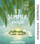 tropical beach poster  summer... | Shutterstock .eps vector #608986562