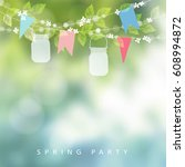 birthday garden party or festa... | Shutterstock .eps vector #608994872