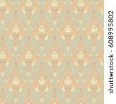 seamless vintage background.... | Shutterstock .eps vector #608995802