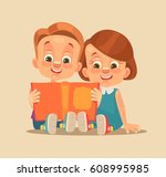 children brother and sister... | Shutterstock .eps vector #608995985