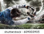goalkeeper catches the ball in... | Shutterstock . vector #609003905