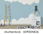 mock up wall in child room... | Shutterstock . vector #609004826