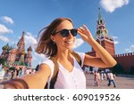 travel and technology. happy... | Shutterstock . vector #609019526