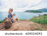 photography and travel. young... | Shutterstock . vector #609024092