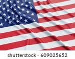 usa flag. wavy fabric high... | Shutterstock . vector #609025652