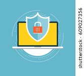 online security flat vector... | Shutterstock .eps vector #609027356