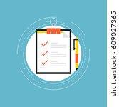 customer service rating flat... | Shutterstock .eps vector #609027365