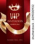 vip red sparlking invitation... | Shutterstock .eps vector #609030932