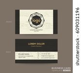 business card with wood pattern ... | Shutterstock .eps vector #609031196