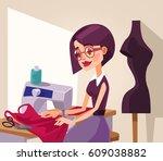 smiling woman designer... | Shutterstock .eps vector #609038882
