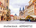 old town square in prague ... | Shutterstock . vector #609040712