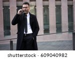 attractive fashionable dressed... | Shutterstock . vector #609040982