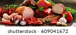 variety of meat products...   Shutterstock . vector #609041672