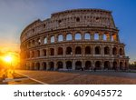 sunrise view of colosseum in... | Shutterstock . vector #609045572