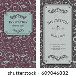 wedding card or invitation with ... | Shutterstock .eps vector #609046832