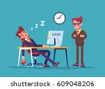 angry boss and office worker... | Shutterstock .eps vector #609048206