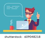 handsome businessman working on ... | Shutterstock .eps vector #609048218