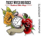 vector pocket watch and roses | Shutterstock .eps vector #609050972