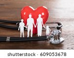 medical insurance concept with... | Shutterstock . vector #609053678