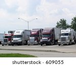 Truckers take a break at rest stop - stock photo