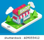 online shopping illustration.... | Shutterstock .eps vector #609055412