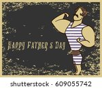 happy father's day flat vector... | Shutterstock .eps vector #609055742
