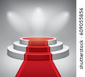 empty illuminated three level... | Shutterstock .eps vector #609055856