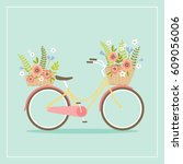 bicycle with flower baskets... | Shutterstock .eps vector #609056006