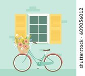 bicycle in front of the window... | Shutterstock .eps vector #609056012