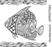 hand drawn stylized fish with... | Shutterstock .eps vector #609057062