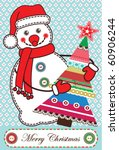 christmas card with snowman in... | Shutterstock .eps vector #60906244