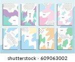 set of trendy hipster posters... | Shutterstock .eps vector #609063002