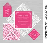 wedding invitation or greeting... | Shutterstock .eps vector #609064502