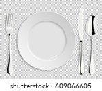 realistic empty vector plate... | Shutterstock .eps vector #609066605